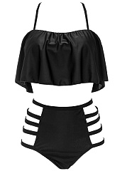 Spaghetti-Strap-Cutout-Flounce-Plain-Bikini