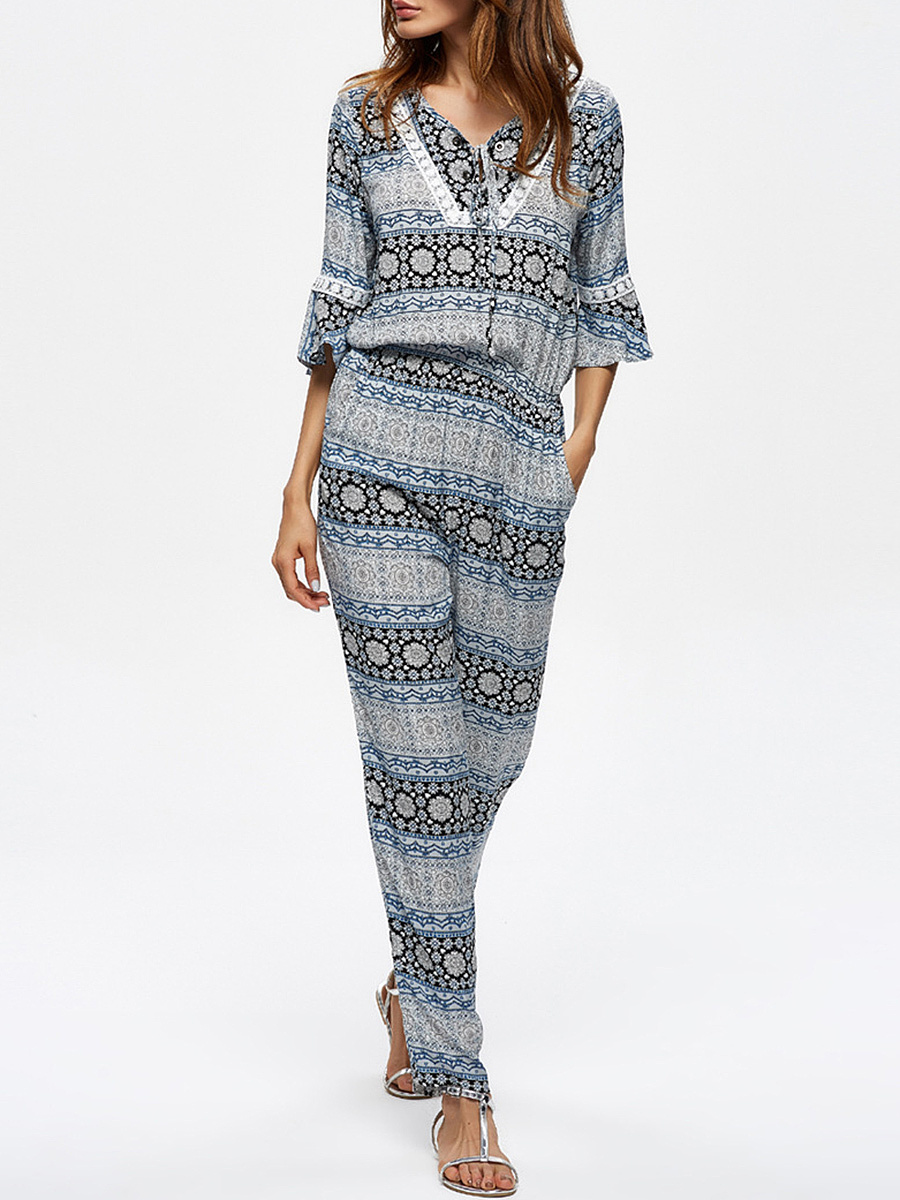 V-Neck  Printed  Slim-Leg Jumpsuit With Bell Sleeve