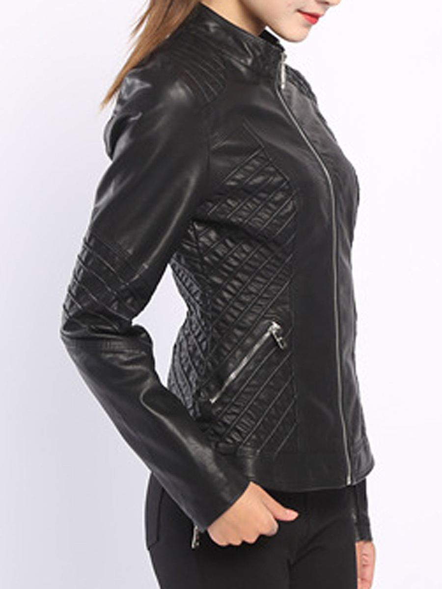 Band Collar  Plain PU Leather Jacket