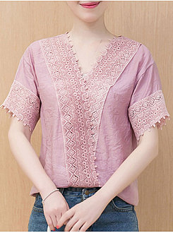 Summer  Chiffon  Women  V-Neck  Decorative Lace  Plain  Short Sleeve Blouses