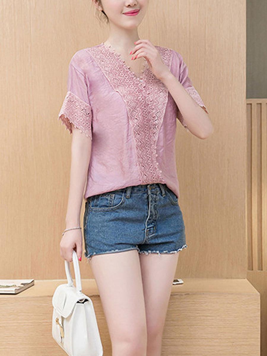 Summer  Chiffon  Women  V-Neck  Decorative Lace  Plain  Short Sleeve Blouses
