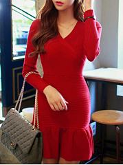 V-Neck Plain Knitted Mermaid Bodycon Dress