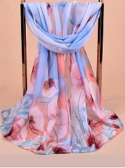 Elegant  Floral Printed Chiffon Scarves Flower Voile Shawls For Women