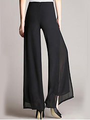 Solid Double Layer Chiffon Wide-Leg Casual Pants