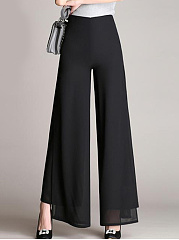 Solid-Double-Layer-Chiffon-Wide-Leg-Casual-Pants