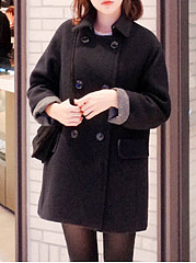 Turtleneck-Double-Breasted-Flap-Pocket-Plain-Long-Sleeve-Coats