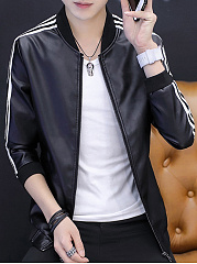 Band-Collar-Striped-PU-Leather-Men-Jacket