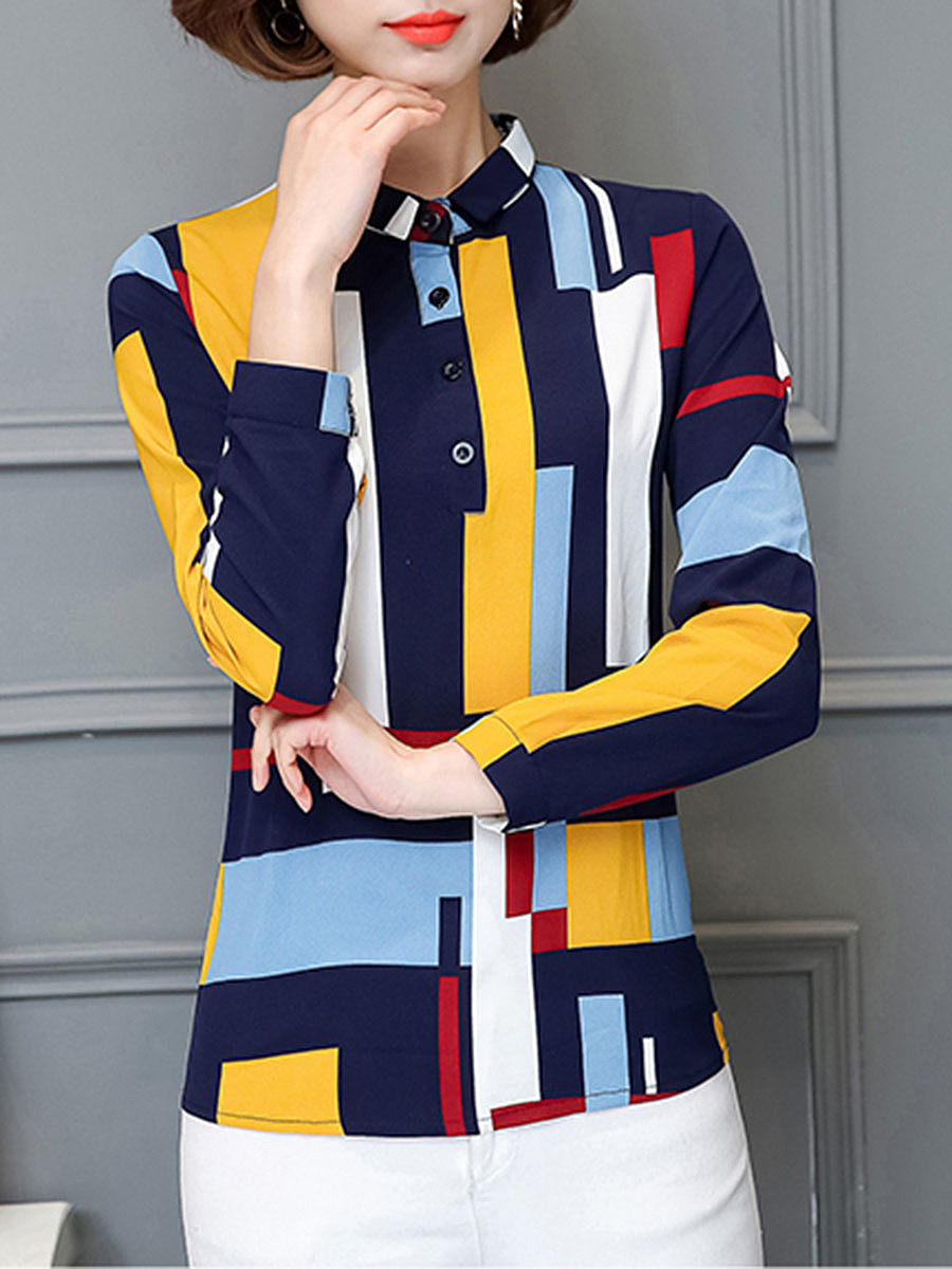 Modern Band Collar  Color Block Geometric Blouse