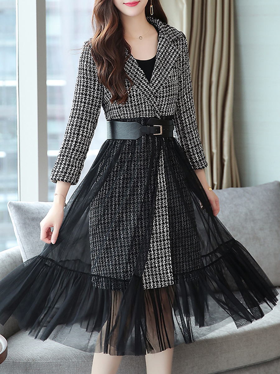 Lapel Patchwork Peplum Belt Plaid Long Sleeve Coats