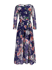 Round Neck  Printed Plus Size Midi & Maxi Dresses