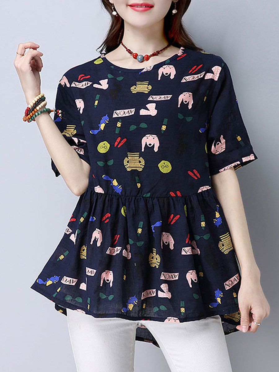 Cartoon Printed Loose Short Sleeve T-Shirt