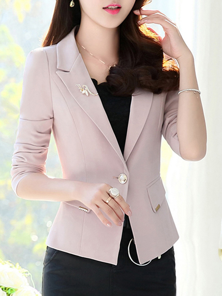 Solid Notch Lapel Brooch Single Button Blazer