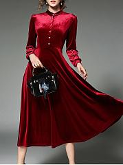 Vintage-Solid-Velvet-Swing-Long-Dress