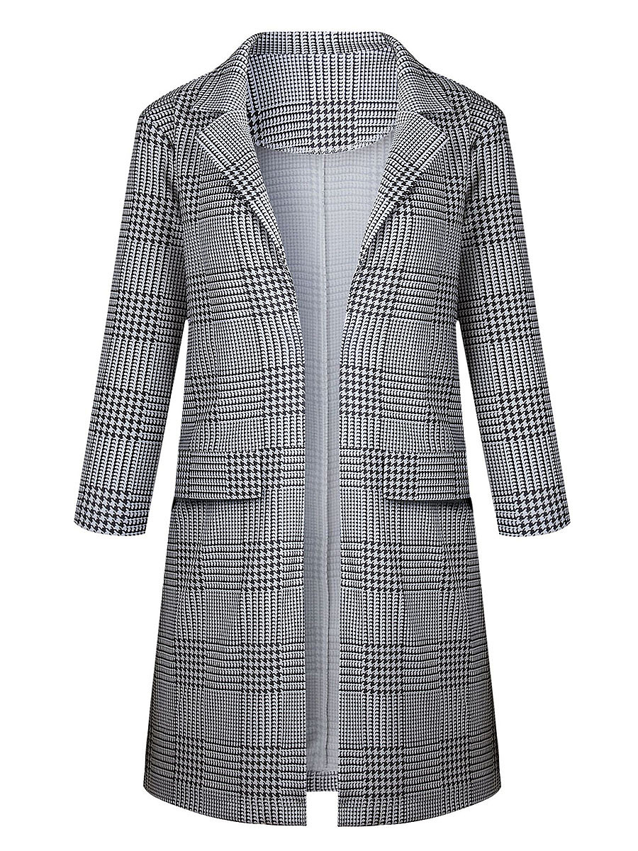 Lapel  Houndstooth Cardigan
