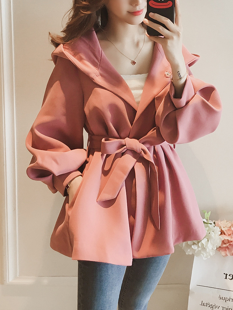 Hooded Belt Plain Pocket Puff Sleeve Trench Coat