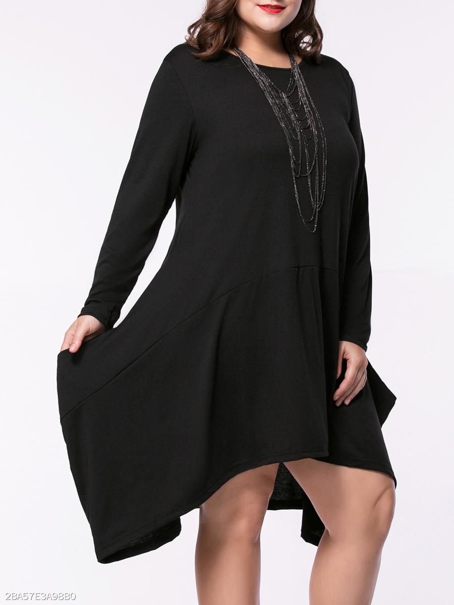 03b9af87c3c9b Asymmetric Hem Pocket Solid Round Neck Plus Size Shift Dress. Asymmetric ...