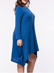 Asymmetric Hem Pocket Solid Round Neck Plus Size Shift Dress