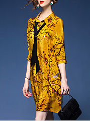 Exquisite Printed Removable Tie Shift Dress