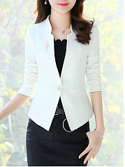 Elegant Collarless  Single Button  Plain Blazer