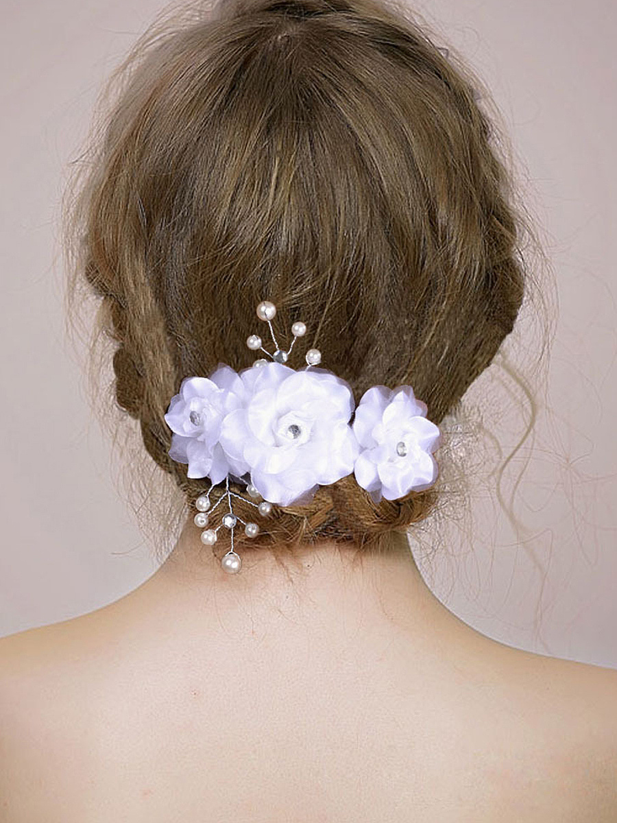 White Floral Hair Plug Bride Jewelry