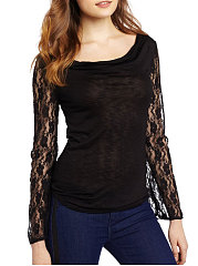 Autumn Spring  Cotton  Women  Round Neck  Decorative Lace See-Through  Plain Long Sleeve T-Shirts