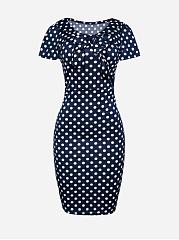 Bow-Collar-Polka-Dot-Short-sleeve-Bodycon-Dress