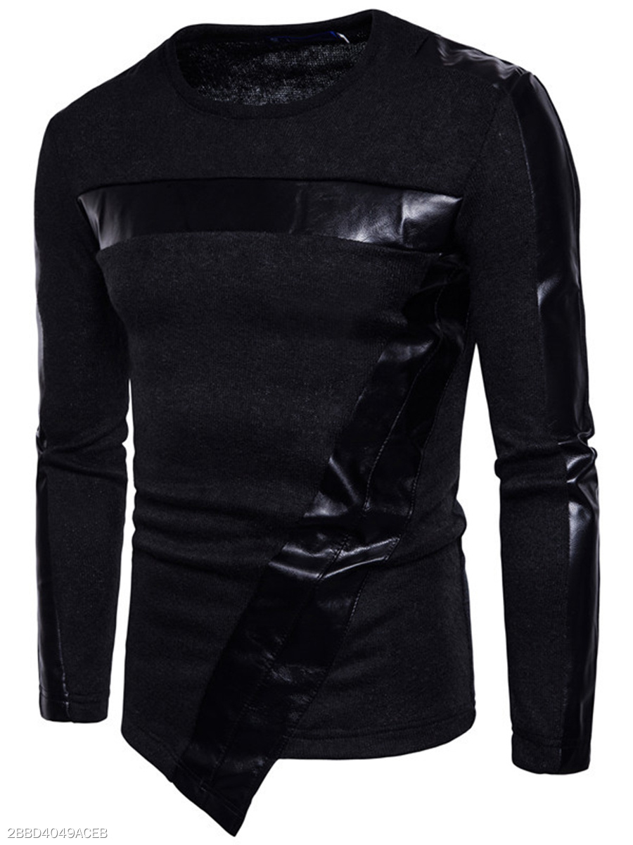 Round Neck  Asymmetric Hem Patchwork  Plain  Long Sleeve Long Sleeves T-Shirts