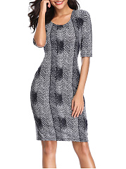 Round Neck  Bust Darts  Abstract Print Bodycon Dress