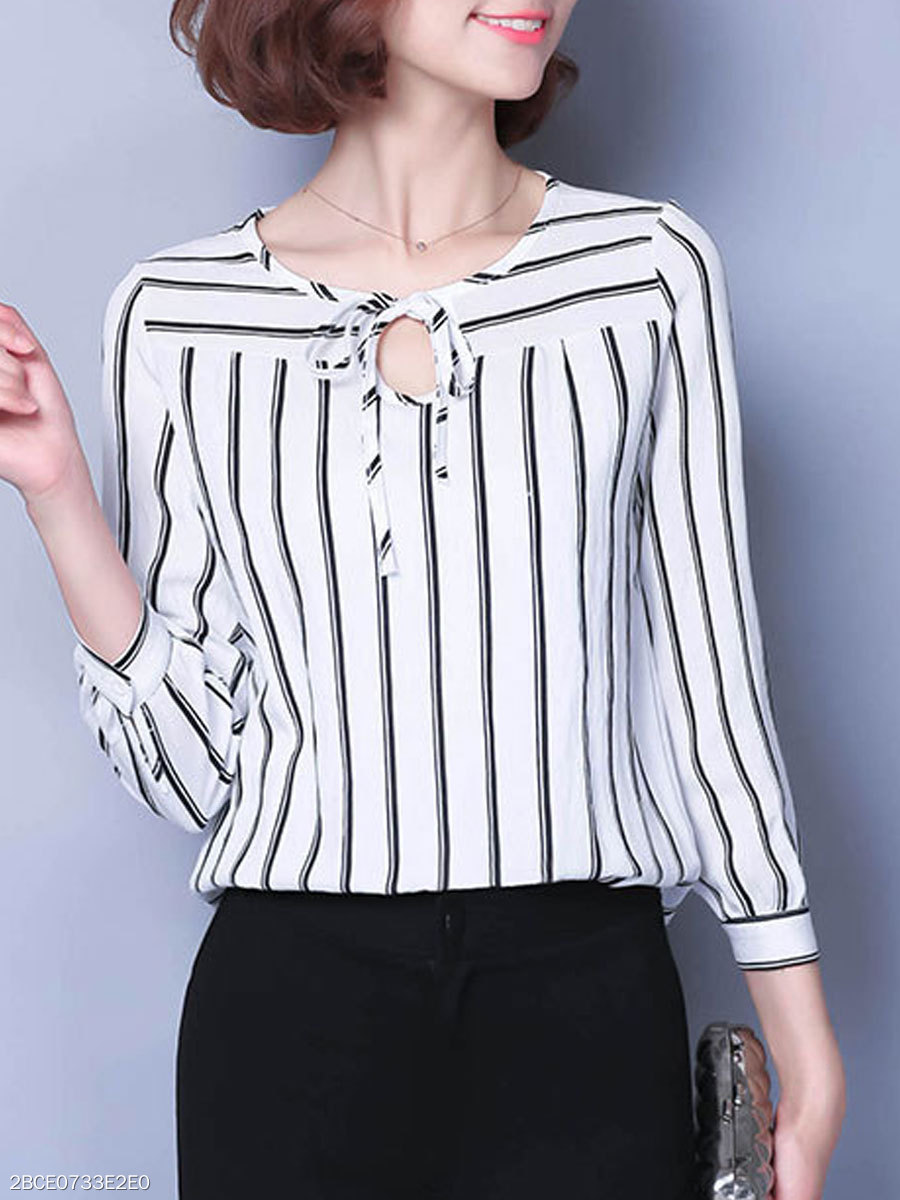 Autumn Spring  Polyester  Women  Tie Collar  Striped  Three-Quarter Sleeve Blouses