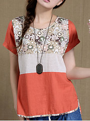 Spring Summer  CottonLinen  Women  Round Neck  Asymmetric Hem  Floral Printed Short Sleeve T-Shirts