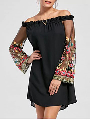 Off-Shoulder-Patchwork-See-Through-Embroidery-Shift-Dress