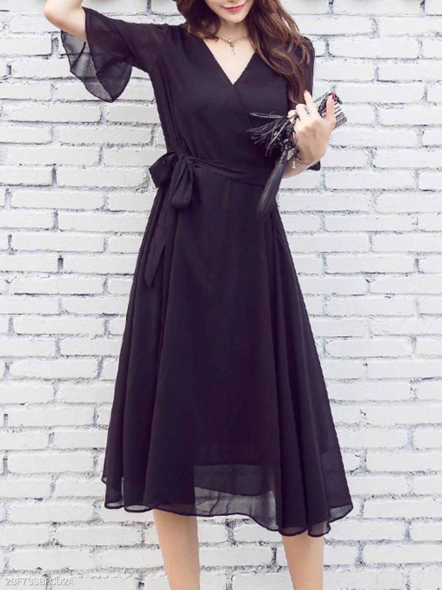 Black V-Neck Chiffon Hollow Out Plain Bell Sleeve Midi Skater Dress ... 6589caf57