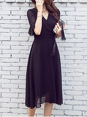 ... Black V-Neck Chiffon Hollow Out Plain Bell Sleeve Midi Skater Dress ... 344f6ca65