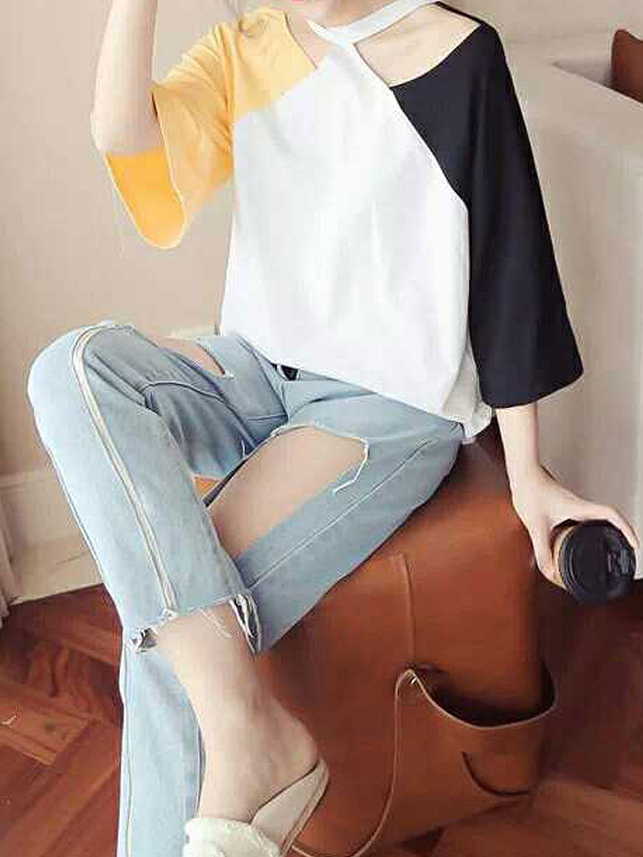 Autumn Spring Summer  Spandex  Women  Halter  Patchwork  Plain  Three-Quarter Sleeve Short Sleeve T-Shirts