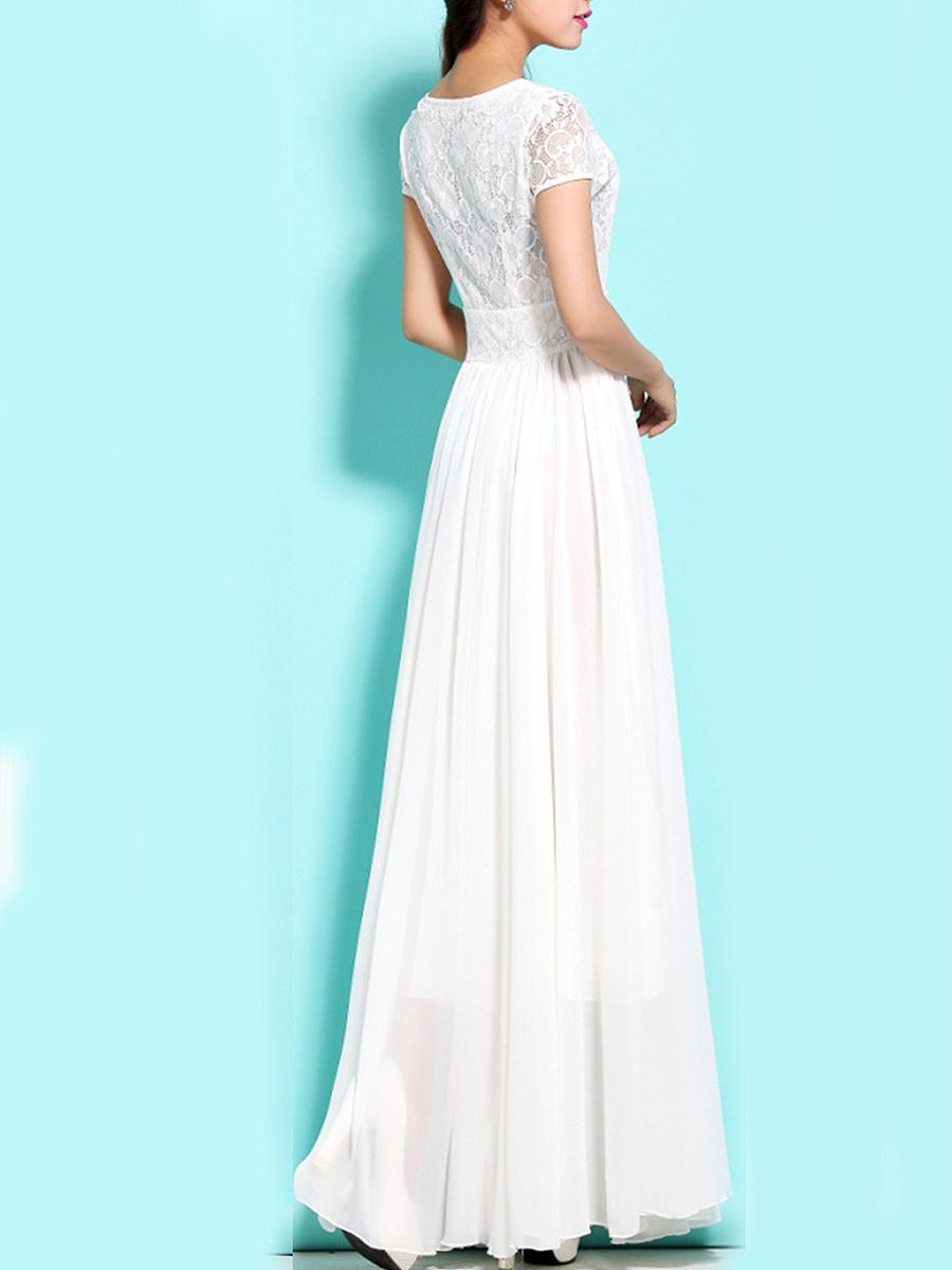Round Neck  Patchwork  Lace Maxi Dress