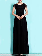Round Neck  Patchwork  Lace Maxi Dress