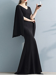 V-Neck  Plain  Polyester Evening Dresses