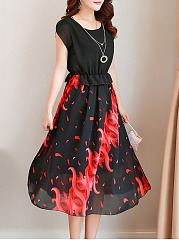 Round Neck Printed Midi Chiffon Skater Dress
