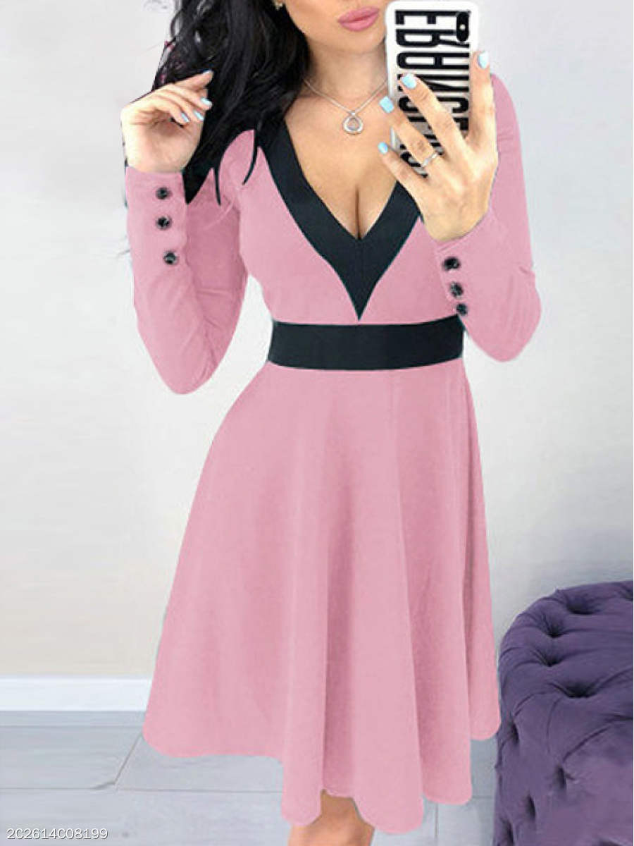 Deep V-Neck  Decorative Button  Color Block Skater Dress