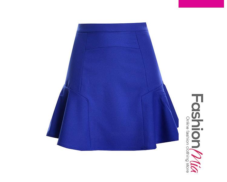 Image of Basic Flounce-Hem Plain A-Line Mini Skirt