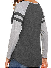 V Neck  Loose Fitting Patchwork  Color Block Long Sleeve T-Shirts