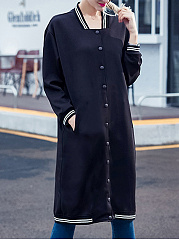 Single Breasted  Plain Striped  Long Sleeve Coats