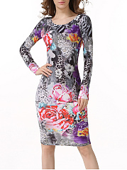 Charming-Round-Neck-Floral-Printed-Bodycon-Dress