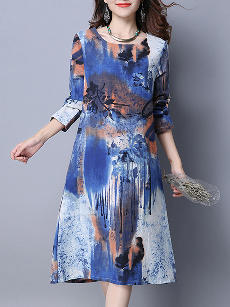 Round Neck Abstract Print Pocket Midi Shift Dress