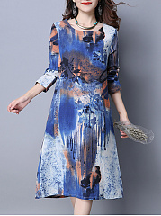 Round-Neck-Abstract-Print-Pocket-Midi-Shift-Dress