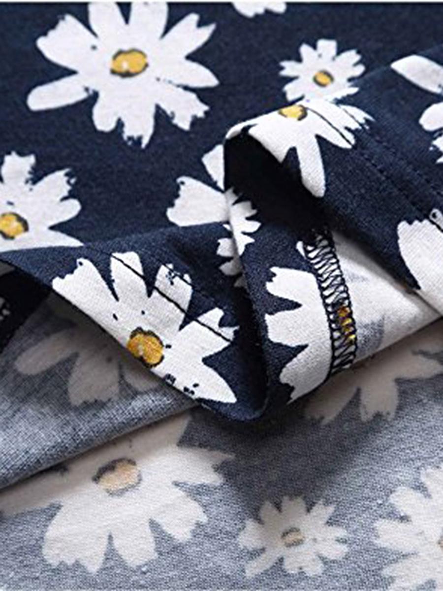 Round Neck Floral Printed Sleeveless Skater Dress