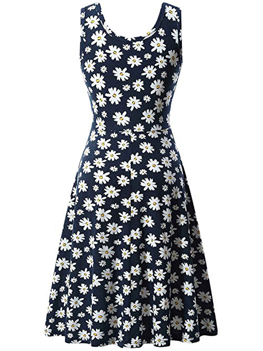 Round Neck Floral Printed Sleeveless Skater Dress