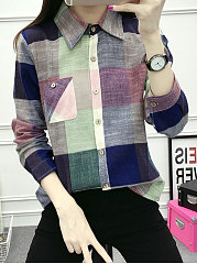 Turn-Down-Collar-Patch-Pocket-Single-Breasted-Plaid-Long-Sleeve-Blouses