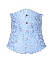 Lace-Up Single Breasted  Printed Corsets
