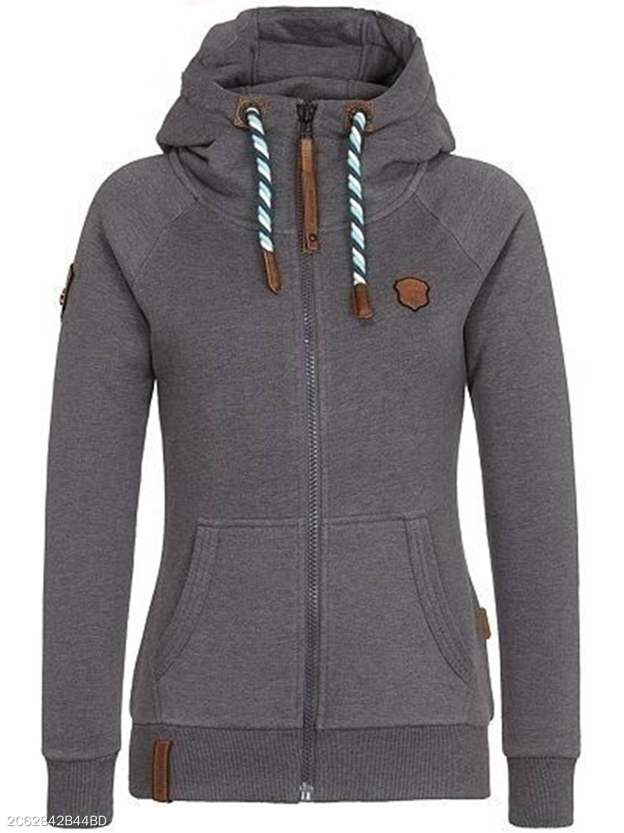 Casual Patch Pocket  Raglan Sleeve Hoodie